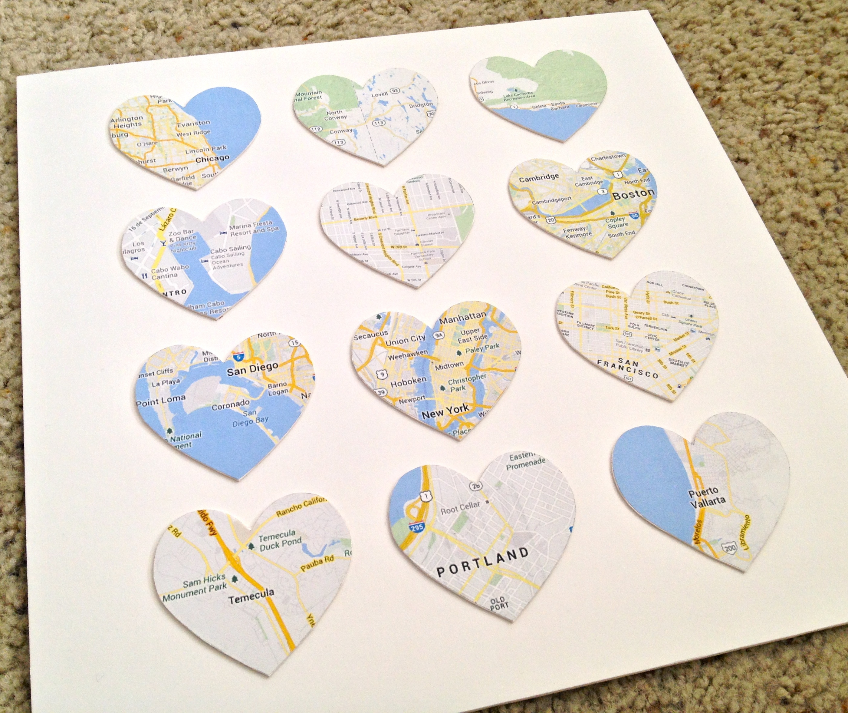 Diy Places We 39 Ve Been Heart Maps Lil Bit