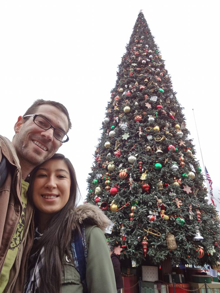 Daniel & Michele with Disneyland Christmas Tree