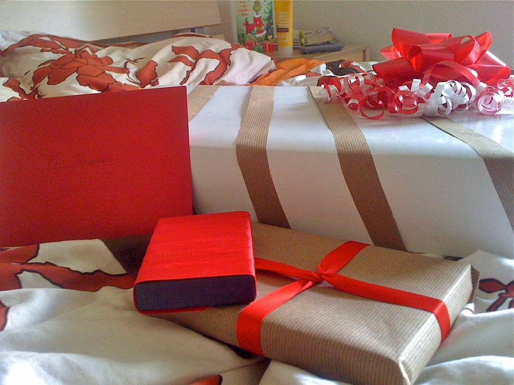 Red Ribbon and Brown Paper Christmas Wrapping