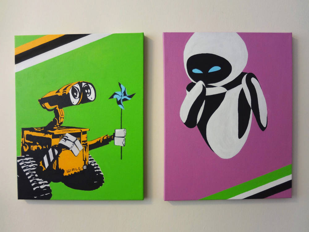 WALL-E and Eva Pop Art Painting