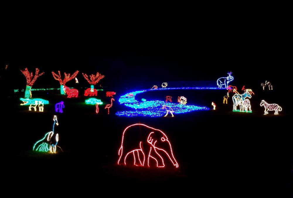 Africa River Scene at the Oregon Zoo Lights