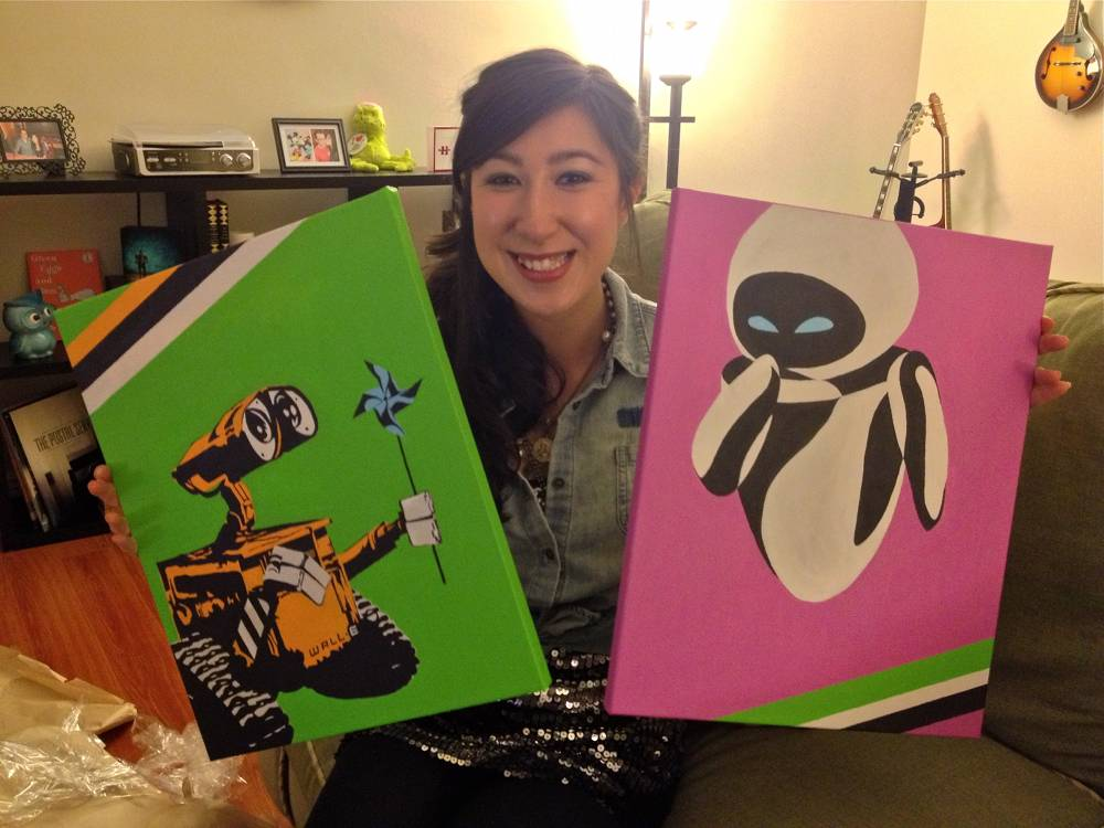 Wall-E and Eva Painting Valentine's Day Gift