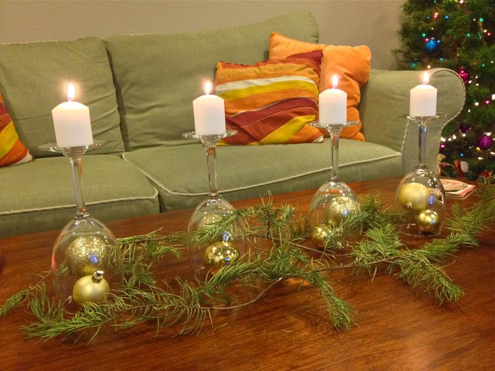 Wine Glass Holiday Table Display