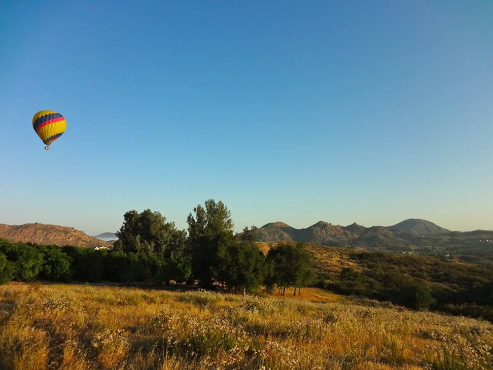 Hot Air Balloon Flying over Temecula Wine Country
