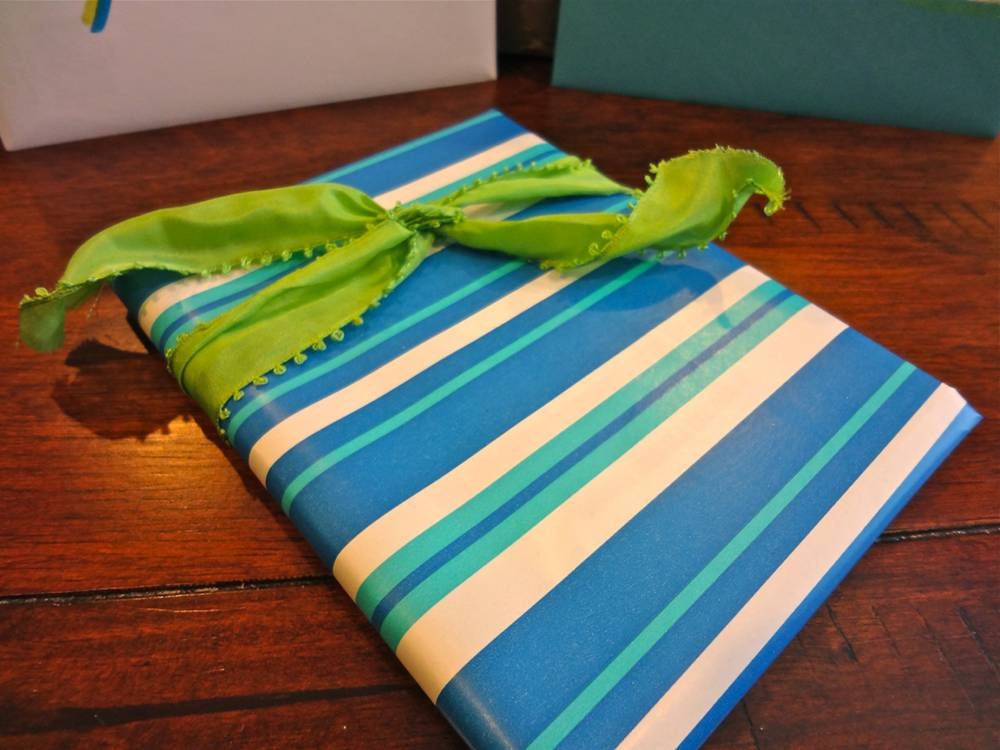 Blue and Green Gift Wrapping Close Up