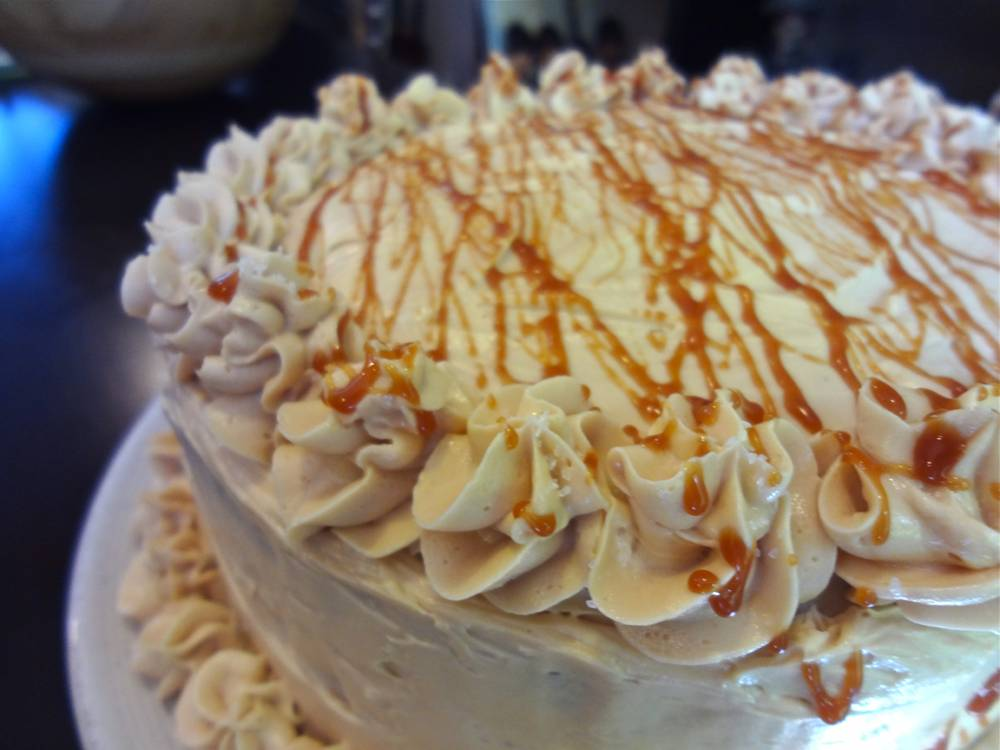 Chocolate and Salted Caramel Whiskey Cake with Salted Caramel Frosting