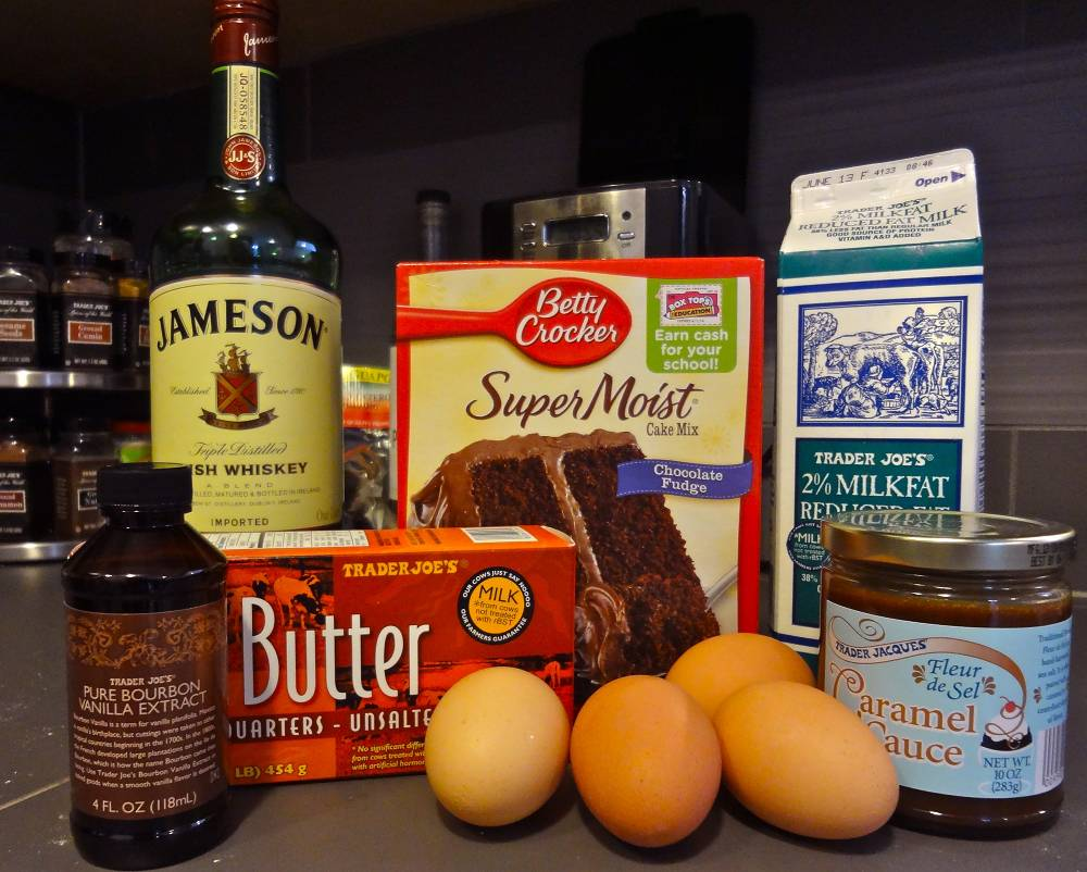 Ingredients for Chocolate and Salted Caramel Whiskey Cake