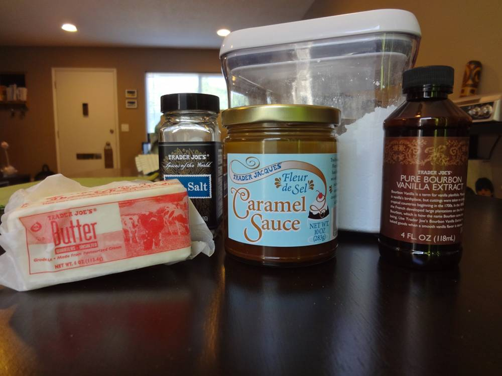 Ingredients for Salted Caramel Buttercream Frosting